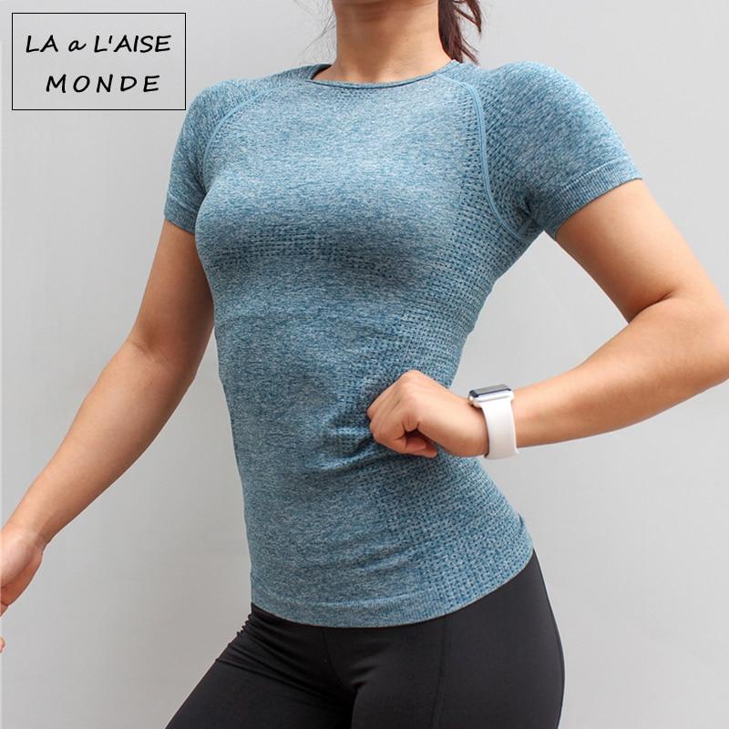 Fitness Women Seamless Sport Shirt Sports Wear For Women Gym Running Top Short Sleeve Yoga Workout Tops Training Sports