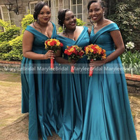 Plus Size Turquoise Bridesmaid Dresses V neck Satin Maid Of Honor Dress African Women Vestidos A Line Long Wedding Party Dresses