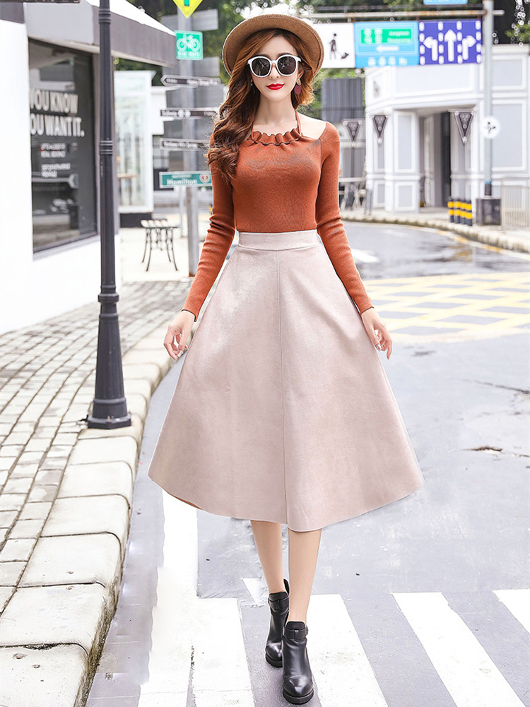 Hec8c7c31bc5a4c37af0d942df346b8bfH - Neophil Women Suede High Waist Midi Skirt Summer Vintage Style Elastic Ladies A Line Black Green Flare Fashion Skirt  S29A4