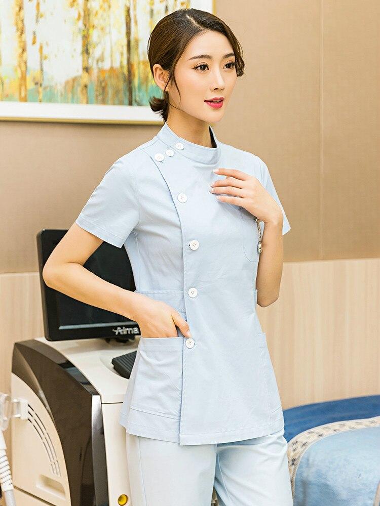 Nurse's Suit Short Sleeve Women's Two Piece Hospital Assistant Beauty Salon Dental Clinic Pet Hospital Work Suit