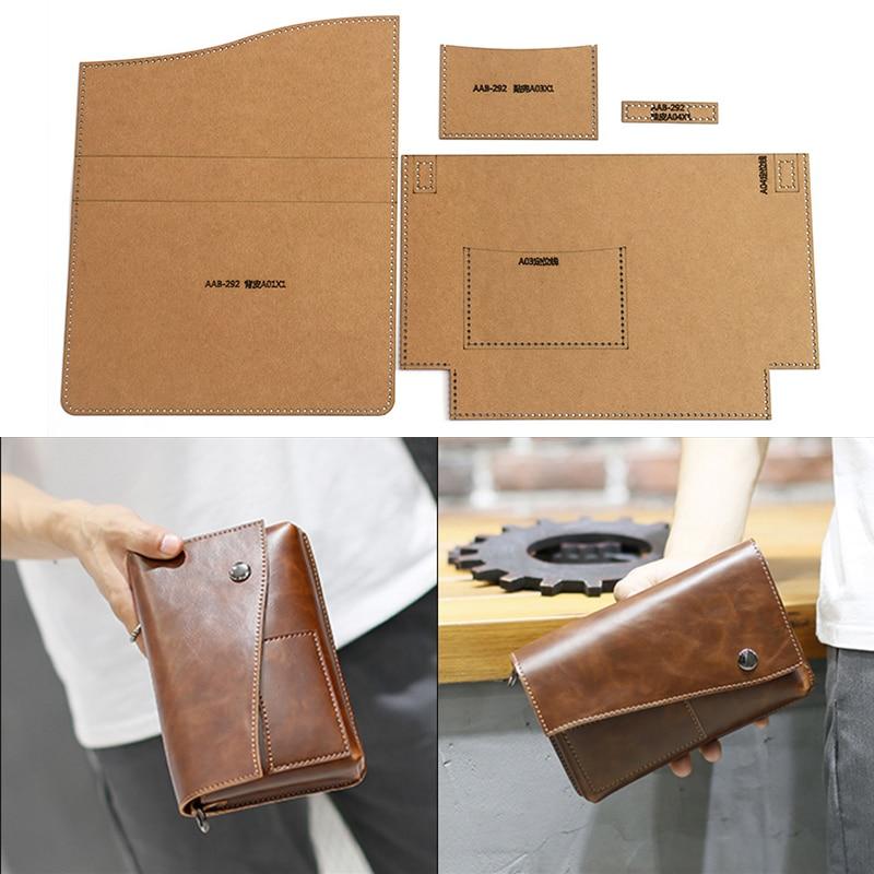 1 Set Of Hard Kraft Paper Stencil Template For DIY Handmade Leather Men's Clutch Bag Business Bag Sewing Pattern 20cm*13cm*3cm
