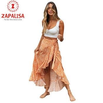 Zapalisa Verão Saia Moda Uma Peça Profunda Fenda Sexy Envoltório Saia Moda Cintura Alta Impressão Ruffless Decoração Boho Maxi Vestido