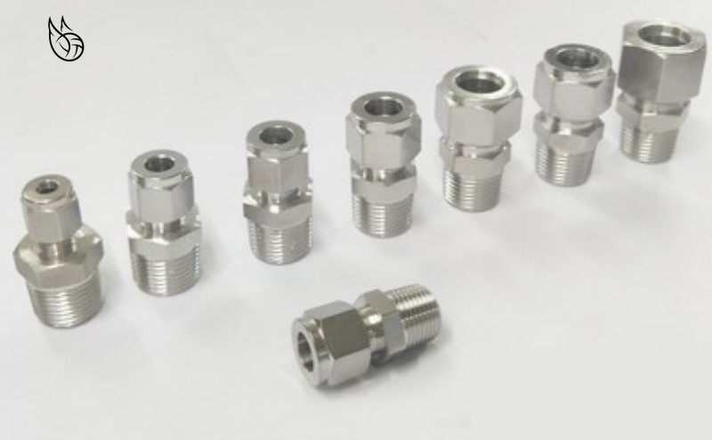 SS 304 Stainless Steel Double Ferrule Compression Connector 6mm 8mm 10mm 12mm Tube To 1/8