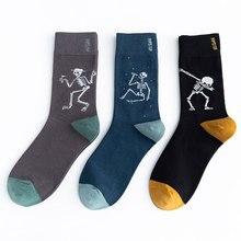 Unisex Painting Style Astronaut Men Socks 100 Cotton Harajuku Colorful Full Socks Men Space 1 Pair Size 35-43 unisex street fashion happy men socks 100 cotton harajuku colorful kawaii full socks men 1 pair size 35 43