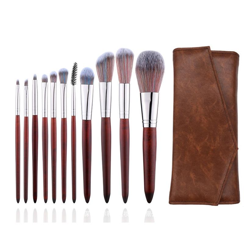 marca 11 pces conjunto de maquiagem macio sereia forma cosmeticos escova conjunto alta qualidade de madeira