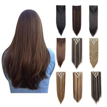 7 Uds 16 Clips 22 pulgadas largo suave sedoso cabeza completa Clip en extensiones de cabello de doble trama, Clips en extensiones de cabello