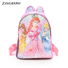 ZYWLBXMH Sofia The First School Bag Discoloration Sequins Backpacks Child SchoolBag Girl Backpack Student mochilas