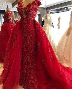 Image 3 - Red Evening Dress Sheath Flowers Lace Dubai Saudi Arabic Evening Gowns 2020 Sexy Side Slit Prom Dresses vestidos