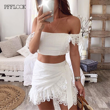 PFFLOOK Summer Lace Sexy Two Piece Set White Sashes Crop Top Skirt Bodycon Sexy Backless Club Party 2 Piece Set Women Suit 2020