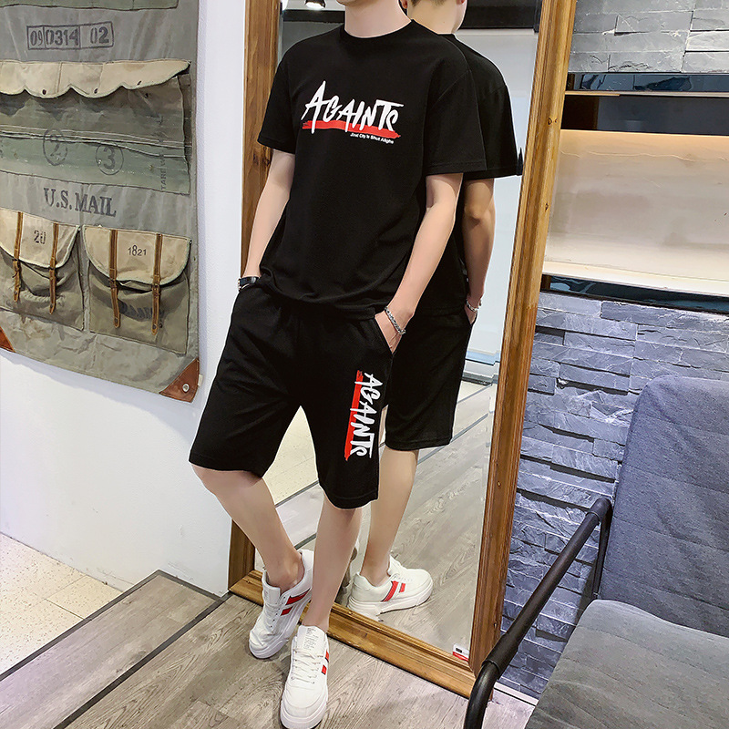 Summer Short Sleeve T-shirt MEN'S Suit 2019 New Style Shorts Thin Two-Piece Set Korean-style Trend T-shirt Clothes