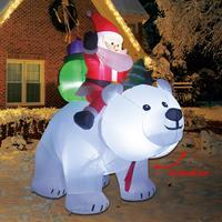 Hinchables navideños de Papá Noel, oso Polar gigante sacudiendo la cabeza, con iluminación LED para decoraciones al aire libre