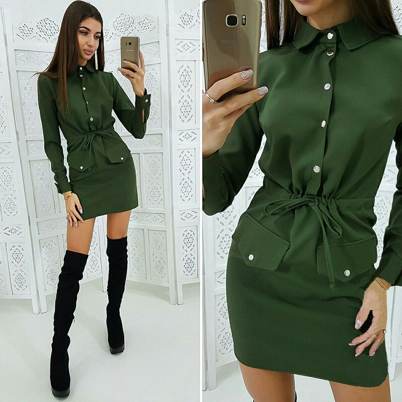 Women Casual Drawstring Straight Mini Dress Ladies Long Sleeve Turn Down Collar Office Work 2019 New Fashion Basis Dress
