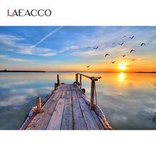 Laeacco закат деревянный мост морской порт птица голубое небо