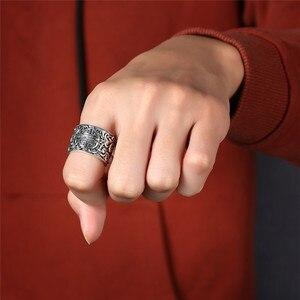 Image 5 - V.YA حقيقية الفضة 925 العرقية نمط خاتم للرجال كبيرة واسعة خواتم ثلاثية الأبعاد واضح محفورة حلقة مفتوحة Vintage الذكور المجوهرات