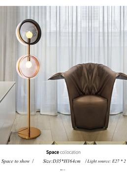 Luminaria de sala de estar Post moderna creativa iluminación de diseñador nórdico estudio dormitorio sofá Hotel doble cabeza Metal lámpara de pie de vidrio