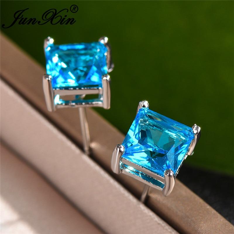 4/5/6/7MM Crystal Stone Square Stud Earrings For Women Men Princess Aqua Blue Zircon Wedding Ear Studs Party Jewelry Cz