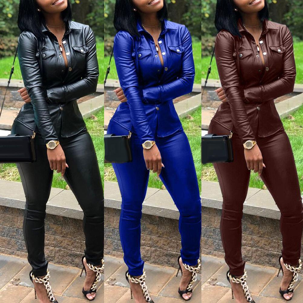 Hot 2Pcs Women Casual Solid Color Faux Leather Turn Down Collar Shirt Pants Two-piece Set Faux Leather V-Neck Elastic Waist Pant