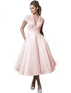 Image 3 - Vestido De Novia corto con escote en V, encaje