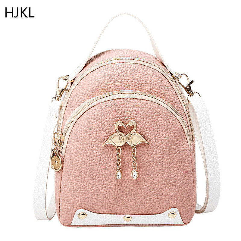 2020 New Fashion Women's Solid Color Leather Little Swan Backpack Shoulder Bag Mini Backpacks For Girls Small Backpack Female