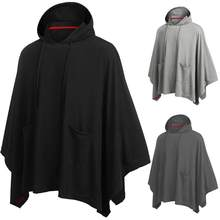 2021 Men's Fashion Cape Hoodie Solid Color Loose Hooded Cape Streetwear Casual Fashion Men's Sweatshirt Poncho Cape 5XL