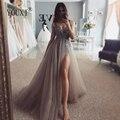 Платье для выпускного вечера с бусинами, длинное, 2020, v-образный вырез, светильник, серое, с высоким разрезом, тюль, с коротким шлейфом, без рук...