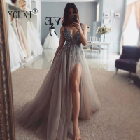 Beading Prom Dresses Long 2019 V Neck Light Gray High Split Tulle Sweep Train Sleeveless Evening Gown A Line Backless Vestido De