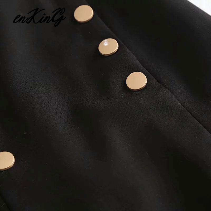 2019 england vintage office lady elegant double breasted straight midi za skirt women faldas mujer moda  long skirts womens