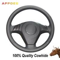 APPDEE Black Genuine Leather Car Steering Wheel Cover for Mazda 3 Mazda 5 Mazda 6 2003 2009