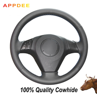 APPDEE Black Genuine Leather Car Steering Wheel Cover for Mazda 3 Mazda 5 Mazda 6 2003 2009