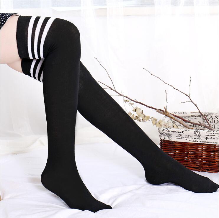 Women High Over The Knee Socks Opaque Japanese School Student Stockings Black Warm Long Stripe Thigh Stockings For Girl Teenager