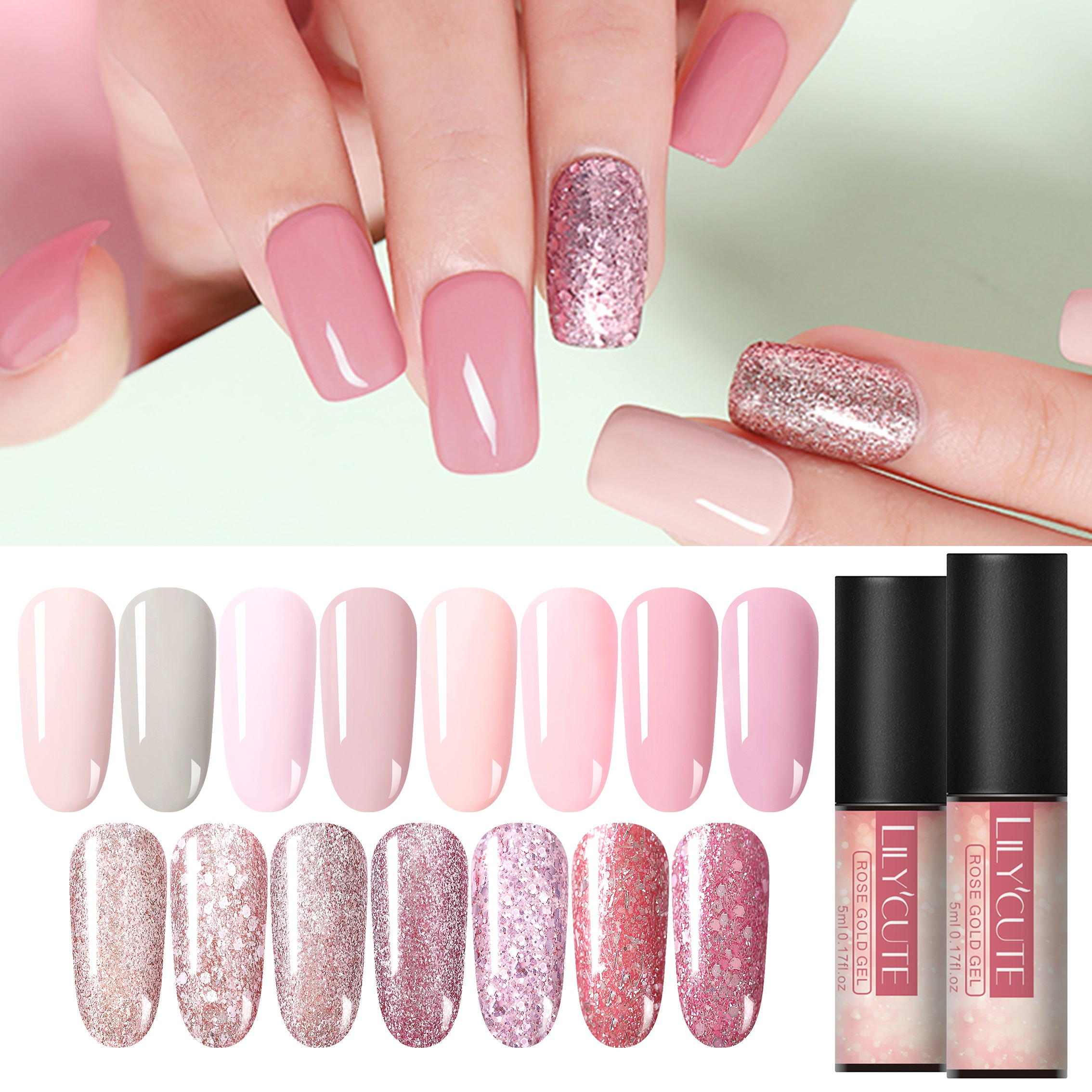LILYCUTE, розовое золото, УФ-Гель-лак, замачиваемые Блестки для ногтей, лак для ногтей, долговечный, замачиваемый, Сияющий УФ-Гель-лак для ногтей