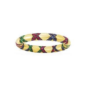 Image 1 - Sljely Mode Pure 925 Sterling Zilveren Sieraden Geel Goud Kleur Multicolor Zirkoon Kruisen Tribal Finger Ring Mana Collection
