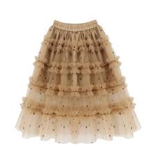 Soft Tulle Girls Skirts Princess Tutu Long Skirts Elastic Wa