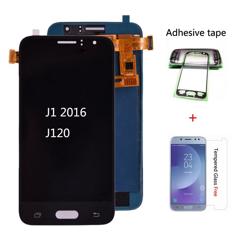 Pode ajustar o brilho para samsung galaxy j120 2016 j120f j120h j120m display lcd tela de toque digitador assembléia frete grátis