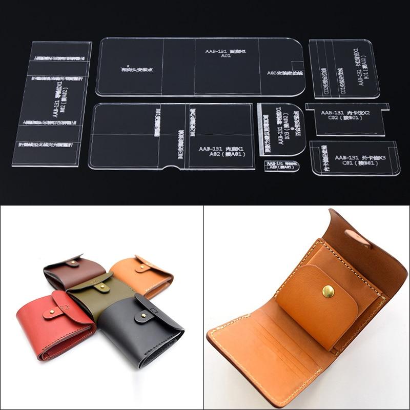 Court portefeuille acrylique modèle outil pour cuir couture modèle pochoir Laser coupe modèle bricolage cuir fait main artisanat 11*9.5*2cm