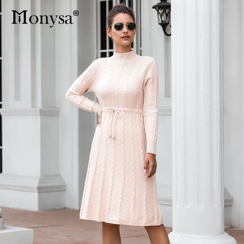 Autumn Winter Dresses 2019 New Arrival Fashion Casual Knee Length Knitted Dress Ladies Long Sleeve Sweater Dresses Black Blue 64