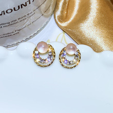 simple Cat Eye Stone ear Nail small  pearl earrings korean gothic studs jewelry