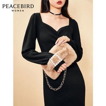Pearl Square Buckle Fur Bag Plush Bag Autumn and Winter New Camel Lady Exquisite Handle Plush Bag purses  fur bag