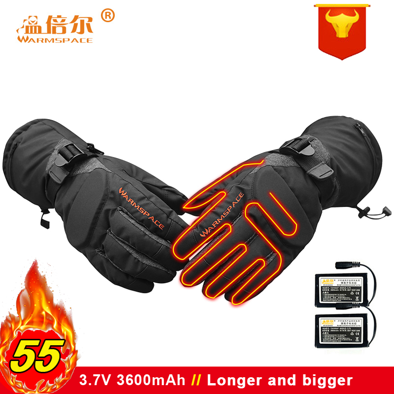 Winter Electric Rechargeable Battery Heated Gloves Smart Control Warm Longer Gloves  Outdoor Waterproof Sports Bicycle Ski Glove