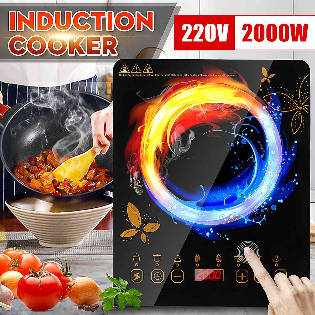 Electric 2200W 220V Touch Control Induction Cooker Electromagnetic Oven Hot Pot Heating Stove Adjustable Mode Household