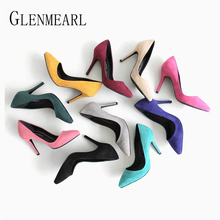 Купить с кэшбэком Heels Women Pumps Female High Heel Women Shoes Colorful Pointed Toe Solid Casual Shoes Dress Shoes New Arrival 2019 Plus Size DE