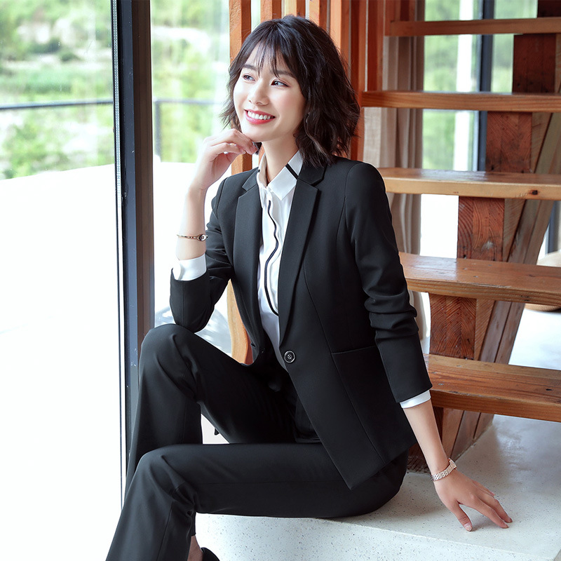 Autumn office professional women's suit High quality solid color long sleeve jacket Pants suit female Workwear two-piece 2019