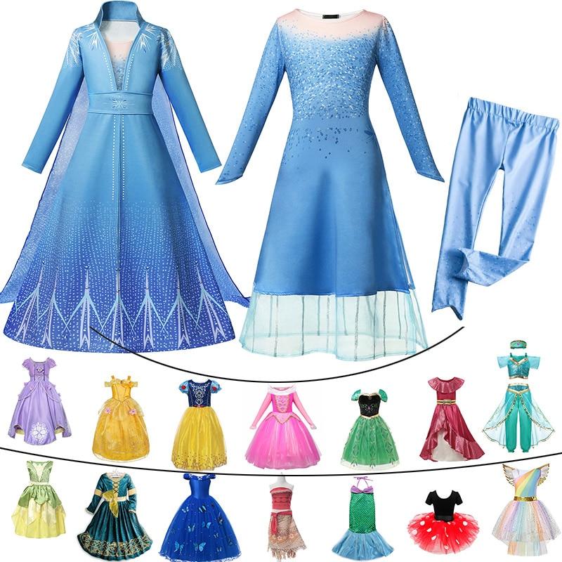 Belle Party-Dress Cosplay-Costume Jasmine Sofia Rapunzel Elsa Fancy Anna Baby-Girl Aurora