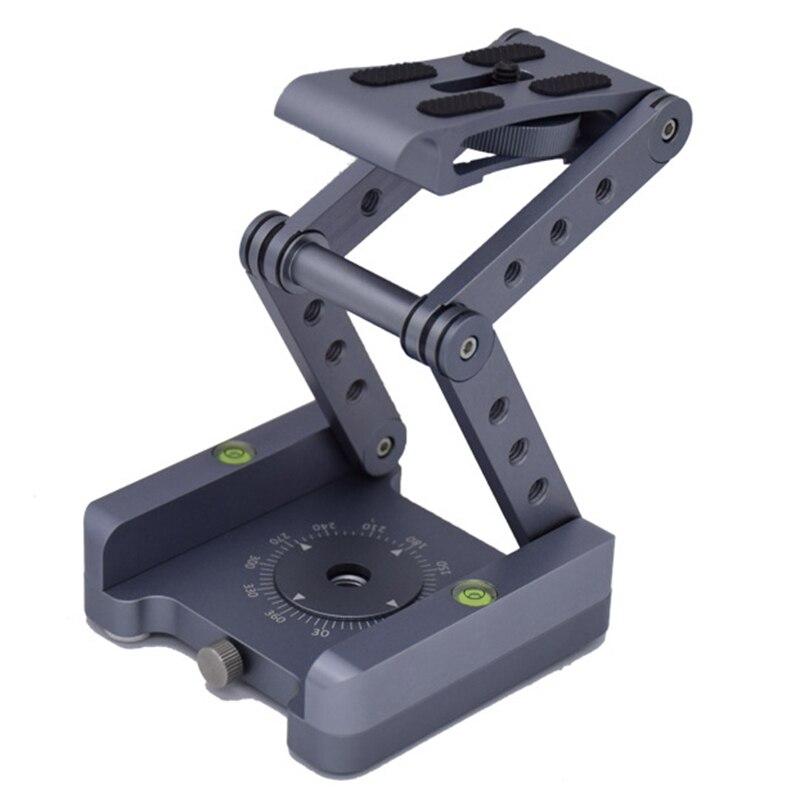 Z-Shaped Flex Tilt Tripod Head Folding Z Tilt Head 360 Rotary Quick Release Plate For Nikon Canon Sony Pentax Dslr Camera