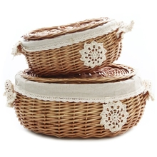 Wicker Rattan Storage Basket with Lid Snack Home Living Room Decor Toy Debris Finishing