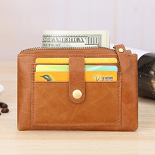 Fashion Small Wallets Genuine Leather Women Men Coin Purses Zipper Key Chains Wallet Male Female Cards Holder Money Slim Bags