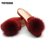 Real Fox Fur Slippers Women Velvet Mules Shoes Fluffy Furry Fur Slides Cute Pom Fur Mule Ladies Flat Casual Slip On Loafer Shoes