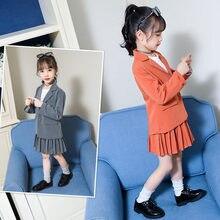 купить Girls Casual Blazer Set Jacket + Pleated Skirt Two Pieces Clothing Set School Girls Blazer Tuxedo Children Fashion Clothes Set дешево