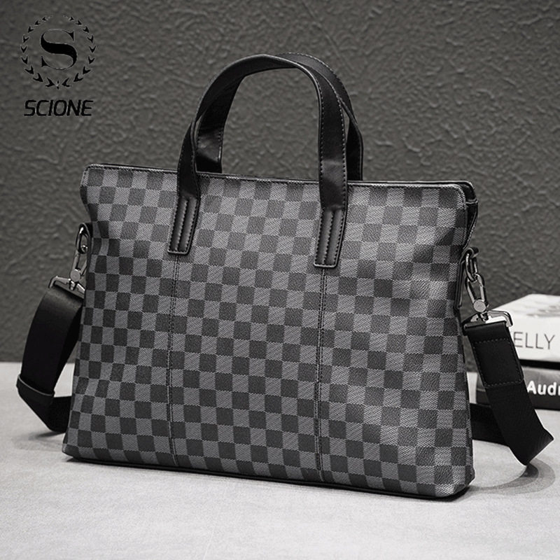 SCIONE Men's Plaid Briefcase Bag Men's PU Leather Handbag Business Single Shoulder Bag For Men Casual  Male Laptops Handbags
