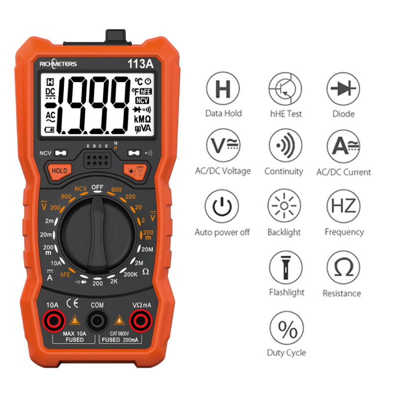 Auto Ranging NCV Digital Multimeter 6000 Counts AC/DC Voltage Meter Flash Light Back Light Large Screen RM113A